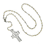 Waterford Crystal Celtic Rosary Bead Necklace With Crystal Cross Pendant