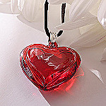 Waterford Lead Crystal Siren Red Heart Pendant