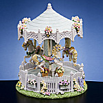 Romantic English Country Garden 3 Horse Merry-Go-Round Music Box