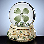 Four Leaf Clover Irish Themed Collectible Water Globe Music Box