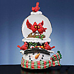 San Francisco Music Box Company Collectible Snowman Water Globe With Cardinals