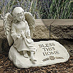 Garden Angel Statue: Bless This Home Inspirational Angel Collectible Garden Decor