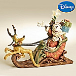 Disney Collectible Mickey Mouse And Pluto As Santa Claus And Reindeer Christmas Figurine