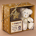 Boyds Angelica Teddy Bear Plush And Golden Star Christmas Ornament Gift Set