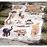 Curious Kittens Cat Art Cotton Tapestry Throw