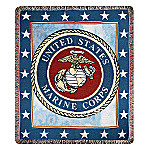 US Marine Corps USMC Eagle, Globe And Anchor CottonTapestry Throw: Patriotic Home Decor