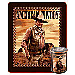 John Wayne Collectible American Cowboy Fleece Throw With Tin Canister