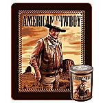 John Wayne Collectible American Cowboy Fleece Throw With Tin Canister