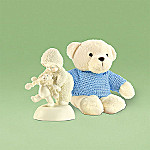 Department 56 Snowbabies Baby Bear Steps Figurine and Teddy Bear Gift Set