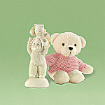 Department 56 Snowbabies Bear Back Ride Figurine and Teddy Bear Gift Set