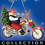 Yule Time Cruisin' Biker Santa Christmas Ornament Collection