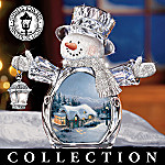 Thomas Kinkade Crystal Reflections Christmas Snowman Figurine Collection