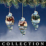 Free As The Wind Horse Porcelain Christmas Ornament Collection