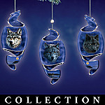 Vision of the Night Wolf Art Christmas Ornament Collection
