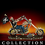 Skull Choppers Skeleton Biker On Motorcycle Figurine Collection