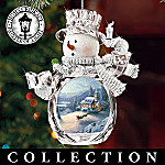 Thomas Kinkade Holiday Reflections Crystal Snowman Christmas Ornament Collection