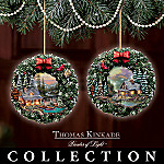 Thomas Kinkade Peaceful Retreats Illuminated Ornament Collection