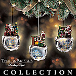 Thomas Kinkade Ringing In The Season Santa Claus Jingle Bell Christmas Ornament Collection