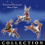 Thomas Kinkade Holiday Reindeer Christmas Tree Ornament Collection