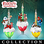 Rudolph The Red-Nosed Reindeer Bubble Light Christmas Ornament Collection