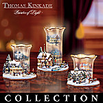 Thomas Kinkade Lights Of Christmas Collectible Holiday Art Candleholder Collection