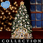 Precious Moments Lighted Nativity Christmas Tree With Angel Decor
