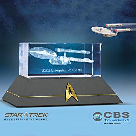 STAR TREK Collectible USS Enterprise NCC-1701 Laser Etched Glass Figurine