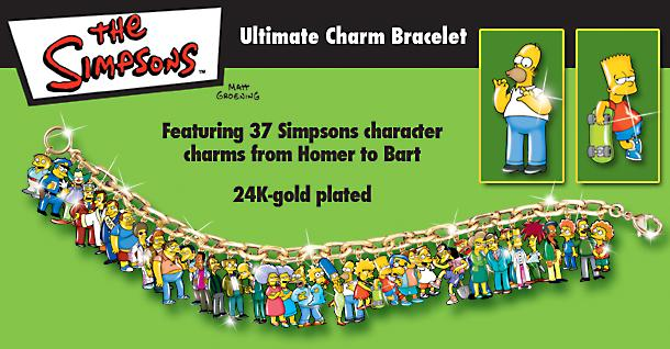 The Simpsons Ultimate Charm Bracelet: Collectible Simpsons Jewelry - The Simpsons™ Charm Bracelet with 37 Character Charms! Great Simpsons Jewelry Gift or Collectible Simpsons Memorabilia!