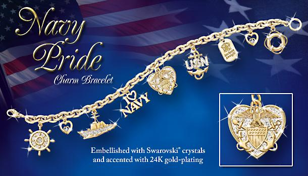 Navy Pride Charm Bracelet: U.S. Navy Jewelry Gift - Exclusive U.S. Navy Charm Bracelet Boasts 9 Charms Embellished with Sparkling Swarovski Crystals! Ideal Navy Jewelry Gift