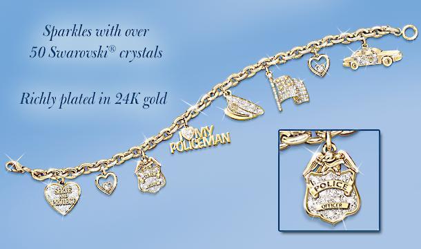 I Love My Policeman Charm Bracelet: Police Jewelry Gift - Police Charm Bracelet Shows Your Pride for Your Brave Hero! Exclusive Keepsake Jewelry with over 50 Swarovski Crystals�!