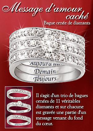 bradford exchange quebec bague pour femmes orn e de diamants et compos e de trois anneaux. Black Bedroom Furniture Sets. Home Design Ideas