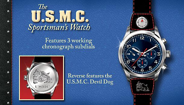 United States Marine Corps - U.S.M.C. Sportsmans Watch - Exclusive U.S.M.C. Sportsmans Watch Salutes Pride and Precision! Handcrafted of Stainless Steel with Marine Mascot Etching!