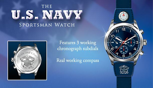 "The U.S. Navy Sportsmans Stainless Steel Watch - Exclusive U.S. Navy Watch Provides Exact Timekeeping and a Working Compass! Engraved with Navy ""Valor and Glory"" Motto"