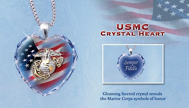 Marine Corps Crystal Heart Pendant