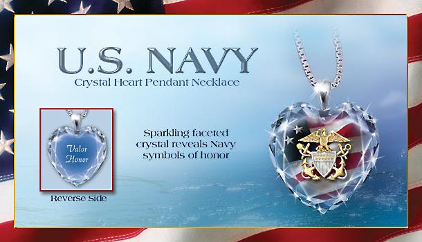 US Navy Crystal Heart Pendant