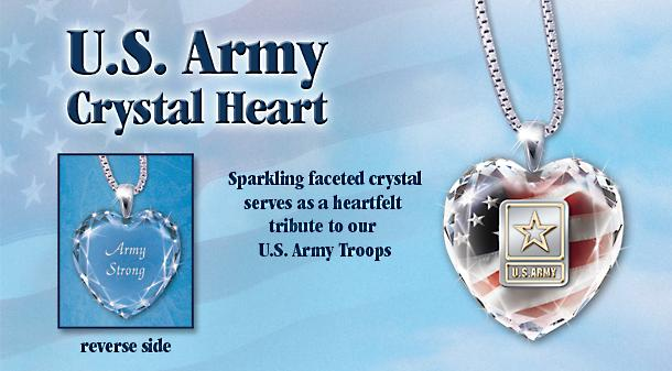 U.S. Army Crystal Heart Pendant Necklace - Sparkling U.S. Army Heart-shaped Crystal Pendant Necklace! Handcrafted with Sterling Silver, 24K Gold Accents and Army Motto!