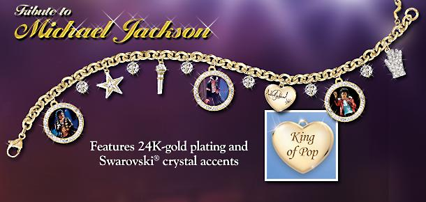 Tribute To Michael Jackson Charm Bracelet - Historic Michael Jackson Charm Bracelet Remembers the Music and Magic of the Legendary King of Pop in a Sparkling Salute!
