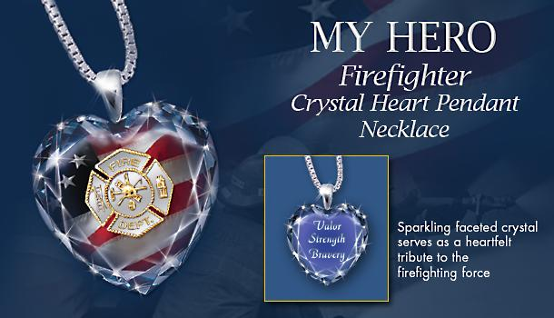 Firefighter Crystal Heart Pendant Necklace: My Hero - Exclusive Firefighter Crystal Heart Pendant Necklace Honors Every Day Heroes with 24K Gold Plating and Sterling Silver!
