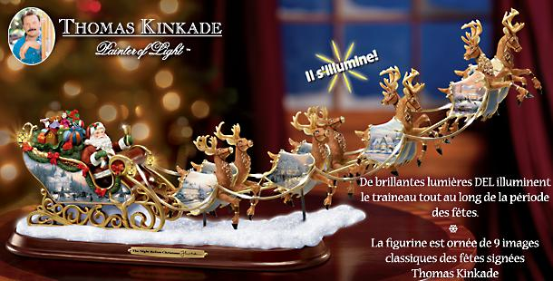 Bradford exchange quebec ho ho ho la figurine de collection thomas kinkade en forme du - Grande figurine pere noel ...
