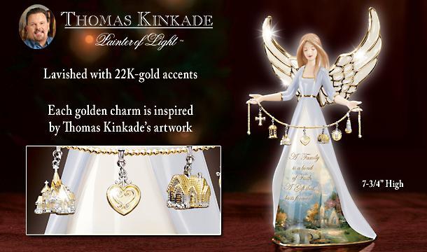 Thomas Kinkade Family And Faith Collectible Porcelain Angel Figurine With Charms