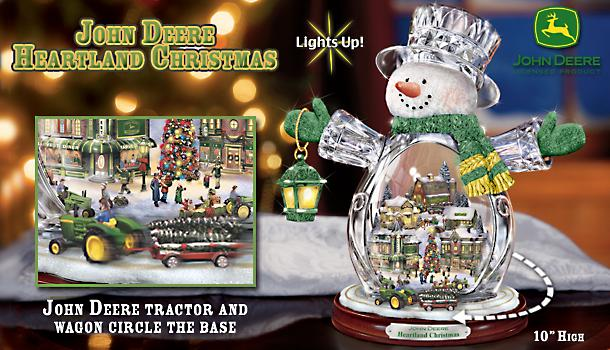 John Deere Heartland Crystal Snowman Figurine: Christmas