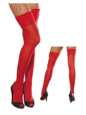 Red Sheer Thigh Highs with Back Seam
