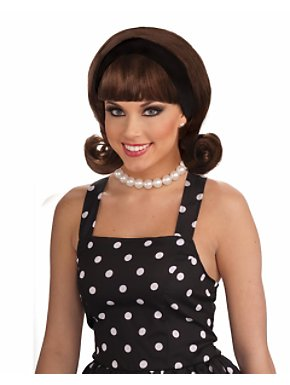 1950s Wig w/detachable Headband Brown Adult