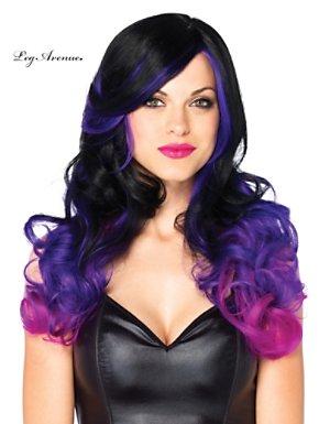 Allure 2 Tone Black & Purple Long Wavy Adult Wig