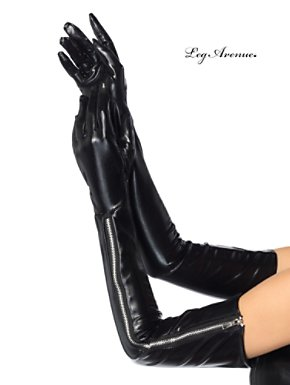 Wet Look Black Opera Gloves