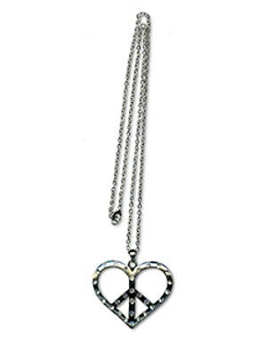 24 In. Thin Chain w/ Heart Peace Sign