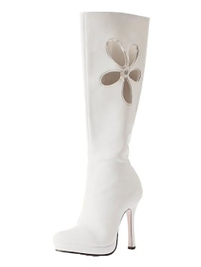 White Gogo Boot With Flower Adult