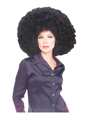 Unisex 60s and 1970's Super Afro Wig Black Adult