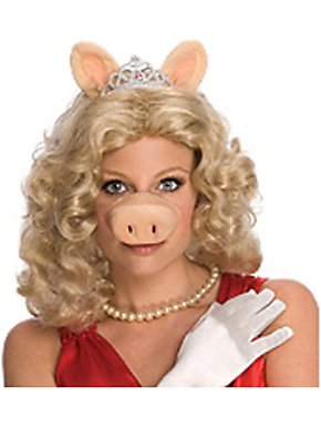 Miss Piggy Wig with Ears, Tiara and Nose