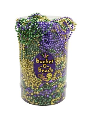 72 Piece Mardi Gras Bucket of Beads
